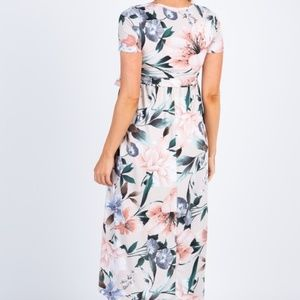 Taupe Floral Hi-Low Maternity Wrap Dress